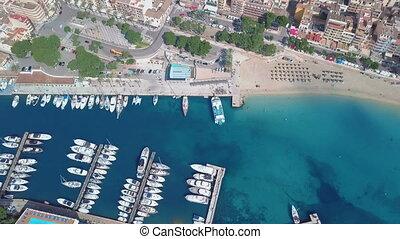 Aerial view landscape of the beautiful bay of Cala Anguila with a wonderful turquoise sea, Porto Cristo, Majorca, Spain