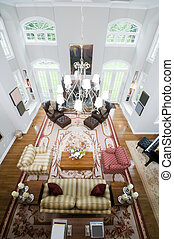 aerial view large luxury living room