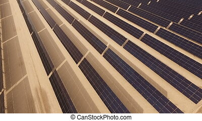 Aerial View Large Solar Energy Farm Green Electricity...