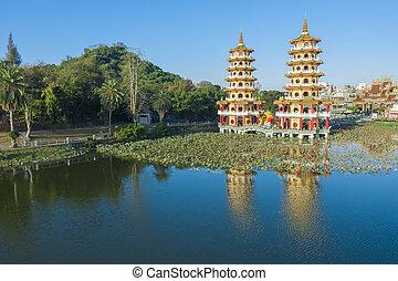 Aerial view Lotus Pond's Dragon and Tiger Pagodas at morning . kaohsiung city. Taiwan