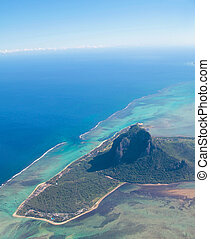 Aerial view Mauritius - Aerial view of Mauritius with Le ...