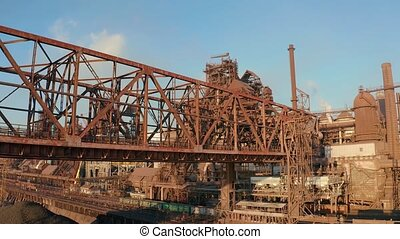 Aerial view. Metal structures of an industrial metallurgical...