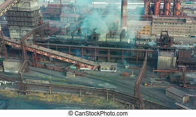 Aerial view. Metallurgical industry. Smoke pipes - Aerial ...
