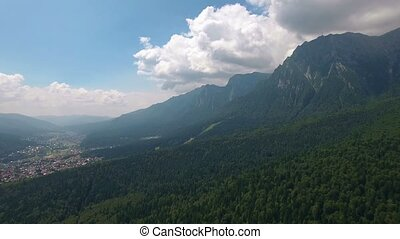 Aerial view mountains landscape town valley scenery