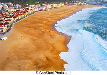 Aerial view Nazare beach Portugal