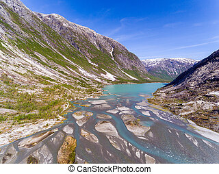 Aerial view near Nigardsbreen glacier in Nigardsvatnet Jostedalsbreen national park in Norway in a sunny day