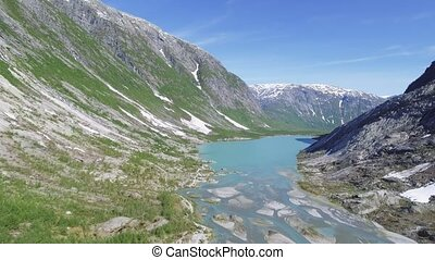 Aerial view near Nigardsbreen glacier in Nigardsvatnet...