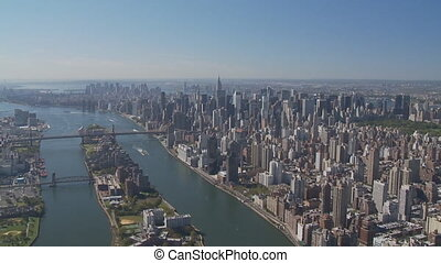 aerial view new york city - aerial view east river roosevelt...