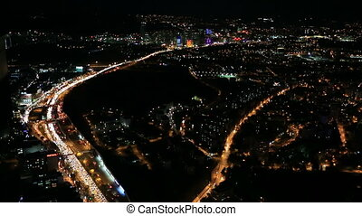 aerial view night city traffic time lapse