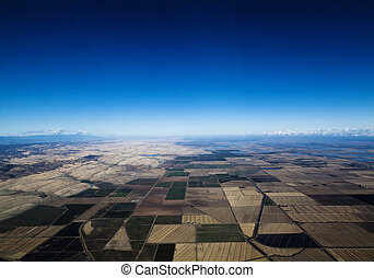 Aerial View Farm Land Irrigation Canal Water Northern California