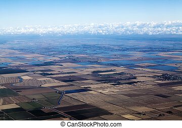 Aerial View Northern California Farm Land And Canals