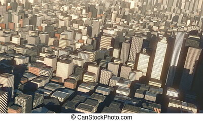 aerial view of 3d city buildings and skyscrapers - high ...