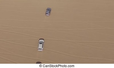 Aerial view of 4x4 off road land vehicle taking tourists on...