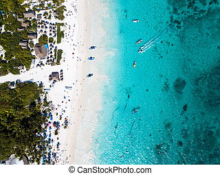 Aerial view of a beach in Tulum Mexico