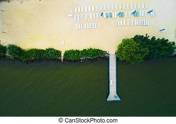 Aerial view of a beach with sunbeds.