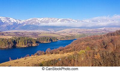 Environment of the dam, reservoir or barrage Dushantsi at river Topolnitsa, Central Balkan mountain, Stara Planina, Bulgaria.