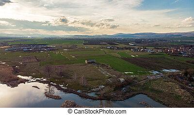 Aerial view of a beautiful lake in bulgaria.