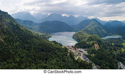 Aerial view of a beautiful lake in the Alpine mountains