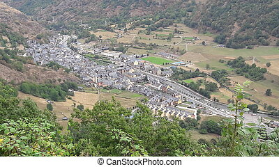 Aerial view of a beautiful village in the Pyrenees