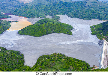 Aerial view of a big waste decanting lake