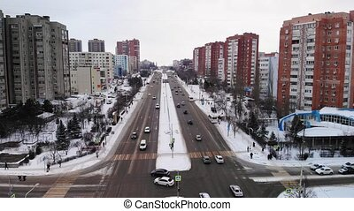 Aerial View of A Busy City Intersection. Winter view
