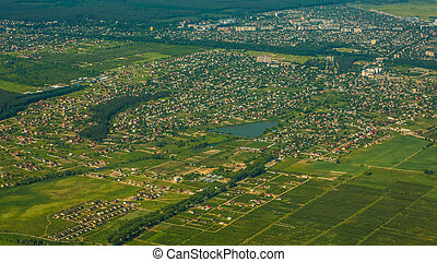 Aerial view of a city.