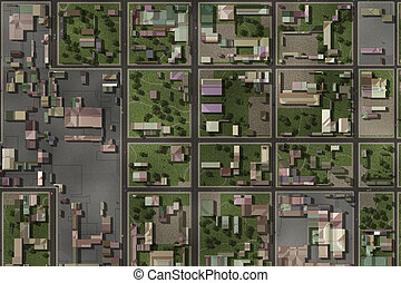 Aerial View of a City Suburb as Art