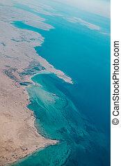 Aerial view of a coastal region in Qatar