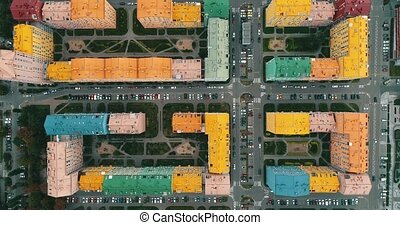 Aerial view of a colorful houses in Kyiv, Ukraine.