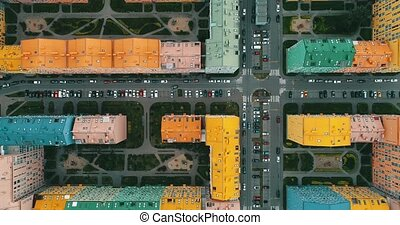 Aerial view of a colorful houses in Kyiv, Ukraine. - Aerial...