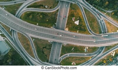 aerial view of a complicated road junction with many road...