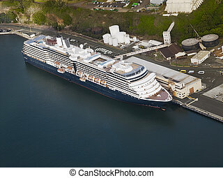 Aerial view of a cruise ship docked