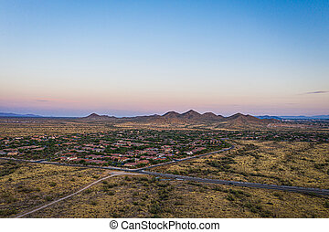 Aerial view of a desert community