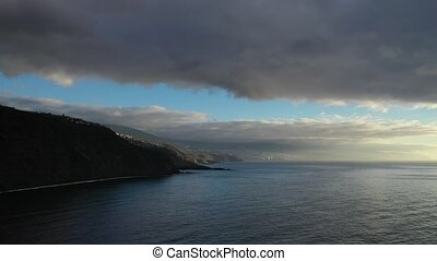 Aerial view of a dramatic sunset on the island of Tenerife-Canary Islands.Atlantic ocean.