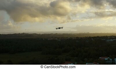Aerial view of a drone in flight. Cinematic 4K footage.