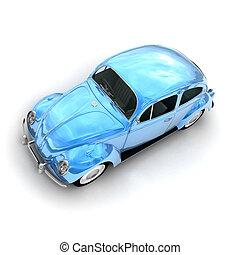 Aerial view of a European blue vintage car