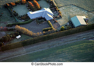 Aerial view of a farm house