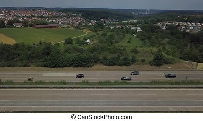 Aerial view of a German Autobahn at Denkendorf near...