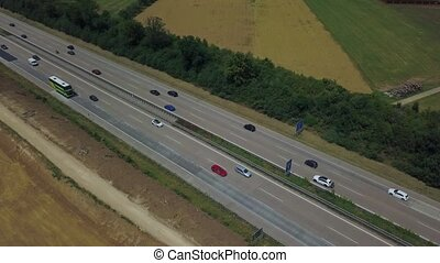 Aerial view of a German Autobahn with construction works for...