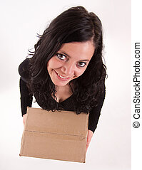 Aerial view of a girl with a box