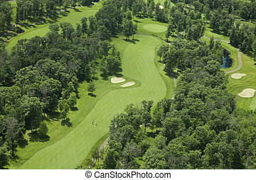 Aerial view of a golf course