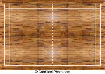 Badminton court - Aerial view of a hardwood Badminton court