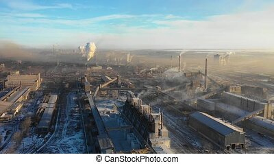 Aerial view of a heavy industry district. Ecology and heavy...
