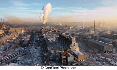 Aerial view of a heavy industry district. Ecology concept.