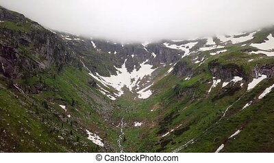 Aerial view of a high mountain canyon in the Alpine mountains. Austria