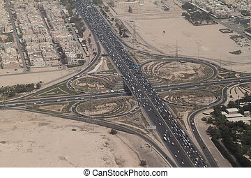Aerial view of a highway crossing in Kuwait ci