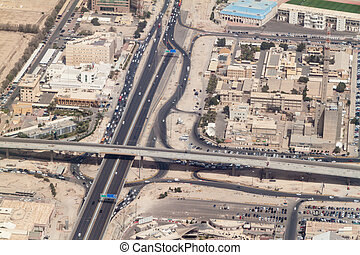 Aerial view of a highway in Kuwait ci