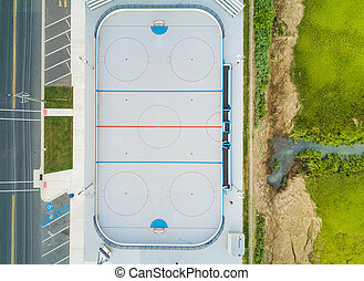 Aerial view of a hockey court