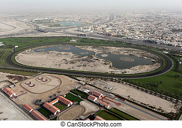 Aerial view of a Horse Race Track in Dubai