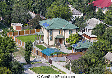 Aerial view of a house with roof , Ukraine.